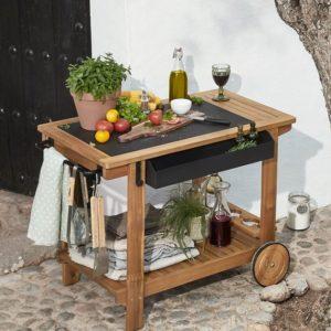 Odkládací stolek s jídlem