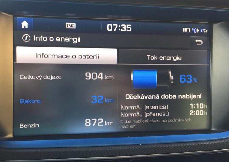 Hyundai IONIQ Plug-in Hybrid: informace o stavu nabíjení baterie